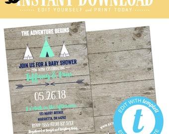 teepee Baby boy shower invitation rustic diaper tribal boho gender reveal neutral navy mint gray twin couple coed editable | 129 Katiedid