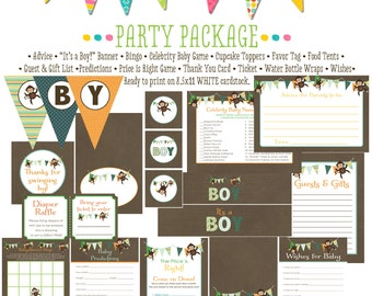 jungle monkey safari invitation monkey birthday invitation party baby shower party package boy monkey 1st birthday 1291 Katiedid Designs