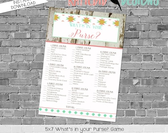 gender reveal party game boots or bows What's in your purse neutral baby shower tribal boho country bunting banner twin | 1439 Katiedid card