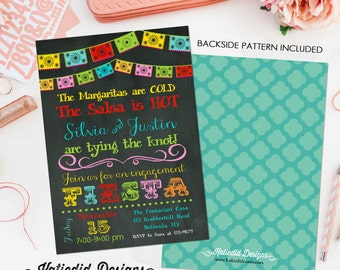 Papel Picado invitation Fiesta Bridal Shower Couples rehearsal dinner wedding birthday retirement party LGBT baby lunch | 301 Katiedid Cards