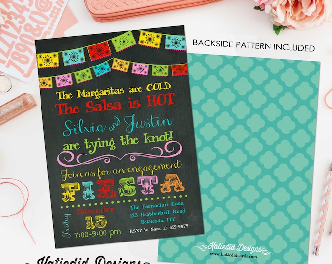 Featured listing image: Fiesta Invitation couples shower bridal papel picado stock the bar I do BBQ engagement party rehearsal dinner adults only | 301 Katiedid