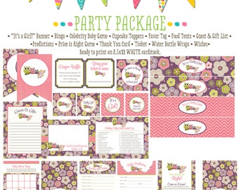 rustic baby girl owl baby shower co-ed baby shower party package banner wishes for baby cupcake toppers thank you card 1301 Katiedid Designs