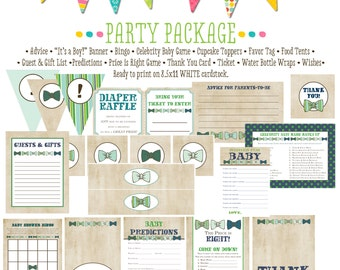 boy oh boy invitation little man bow tie baby shower little gentleman party package gender reveal party game banner tag 1204 Katiedid cards