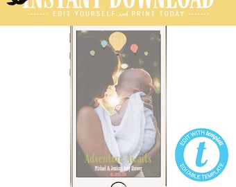 Snapchat geofilter Adventure awaits baby shower invitation World map Hot air balloon Travel Theme gender neutral reveal twin | 1455 Katiedid