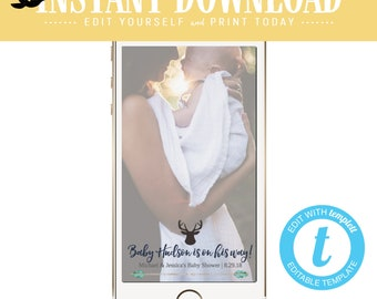 Snapchat geofilter woodland baby shower invitation tribal boy couples rustic sprinkle sip see deer antler arrow twins mint | 1238b Katiedid