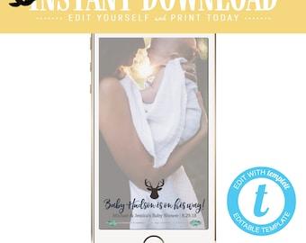 Snapchat geofilter woodland baby shower invitation tribal boy couples rustic sprinkle sip see deer antler arrow twins mint | 1238b Katiedid
