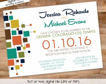 midcentury modern wedding invitation 50s couples shower stock the bar I do BBQ engagement party rehearsal dinner gay | 327 Katiedid Designs