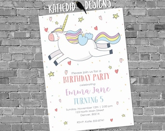 Unicorn birthday invitation baby shower confetti rainbow hearts little girl gender neutral reveal 1st first party | 2005 Katiedid Designs
