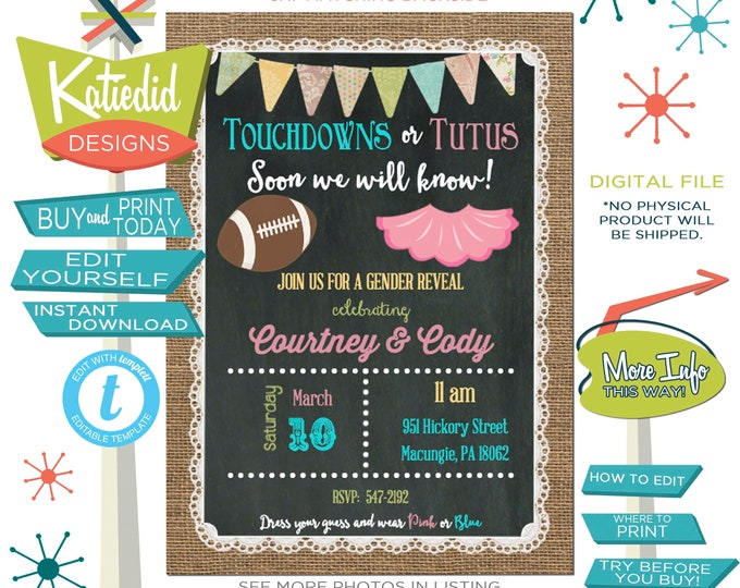 Featured listing image: gender reveal invitation touchdowns or tutus baby shower neutral twin football coed sprinkle couples sip and see burlap | 1431 Katiedid Card