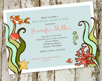 Couples shower Invitation bridal under the sea coed rehearsal dinner I do BBQ engagement party stock the bar goldfish coral | 323 Katiedid