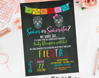 Fiesta invitation gender reveal baby shower day dead halloween sugar skull papel picado senor senorita twin chalkboard taco | 1460 Katiedid