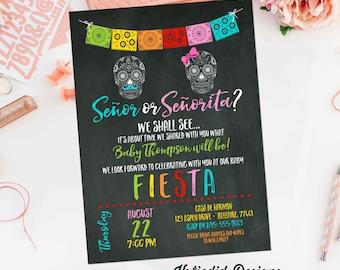 Fiesta invitation gender reveal baby shower day dead halloween sugar skull papel picado senor senorita twin chalkboard taco | 1460 Katiedid