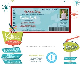 Vintage Airplane Boy Birthday Invitation with Photo Picture, Patriotic Retirement Party, Boarding Pass   226 Katiedid