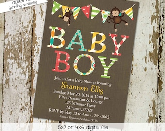 Monkey Baby Shower Invitation, Twin Boy Birthday Party, Coed Sprinkle Sip and See | 126 Katiedid Designs