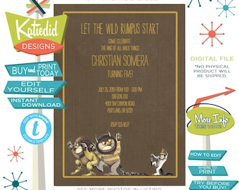 Where The Wild things Are Invitations, Baby Boy Couple Shower Gender Neutral, Wild One Birthday Twin  | 224 Katiedid cards