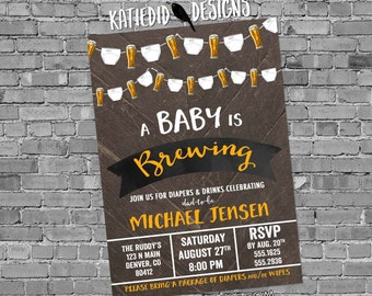 Gender reveal invitation diaper wipes couples baby shower brewing pampers dad man two beer neutral rustic coed party | 1493 Katiedid designs