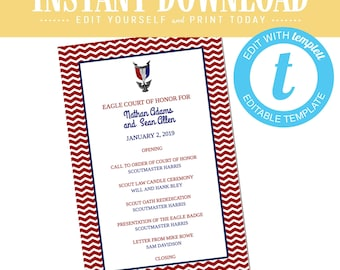 Eagle Scout Court of Honor Program, LDS baptism program mormon, templett editable | 603 Katiedid designs