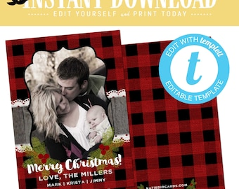 buffalo plaid christmas, christmas cards with photo, lumberjack rustic picture templett | 822b Katiedid