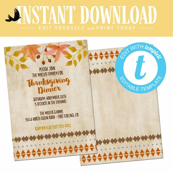 Thanksgiving invitation BOHO chic, fall baby shower invitation, editable templett | 872 Katiedid Designs