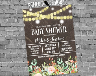 Couples baby shower invitation gender reveal string lights mint coral diaper wipe floral neutral sprinkle sip see coed twins   1486 Katiedid