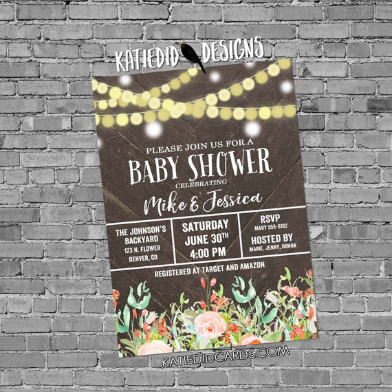 Couples baby shower invitation gender reveal string lights mint coral diaper wipe floral neutral sprinkle sip see coed twins | 1486 Katiedid