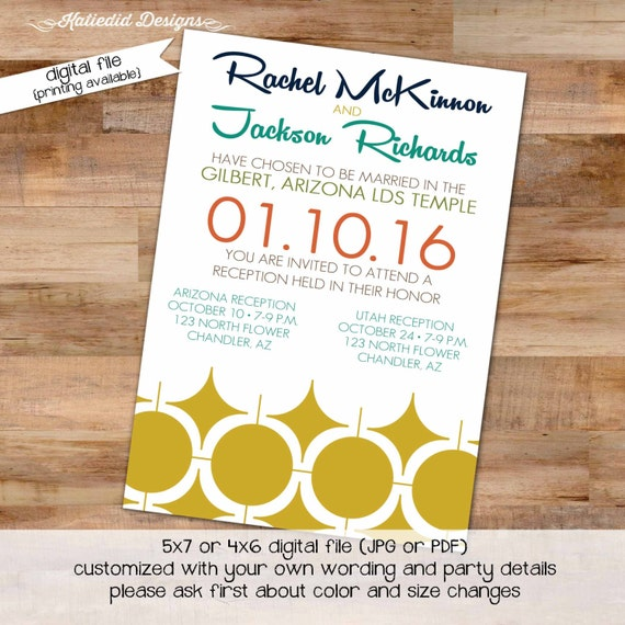 midcentury modern wedding invitation 50s couples shower stock the bar I do BBQ engagement party rehearsal dinner gay LGBT | 328 Katiedid