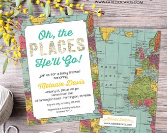 Adventure awaits baby shower invitation Oh the places you'll go birthday World map travel theme gender neutral graduation   1294 Katiedid