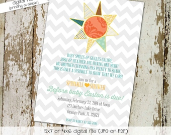 Gender reveal invitation sprinkle baby shower couples coed boy neutral you are my sunshine brighter than the sun gay   1249 Katiedid designs