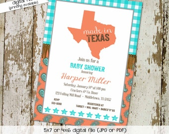 Made in texas couples baby shower invitation coed sprinkle twins sip see brunch paisley coral aqua BBQ country western wipes   1373 Katiedid