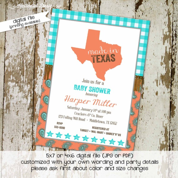 Made in texas couples baby shower invitation coed sprinkle twins sip see brunch paisley coral aqua BBQ country western wipes | 1373 Katiedid