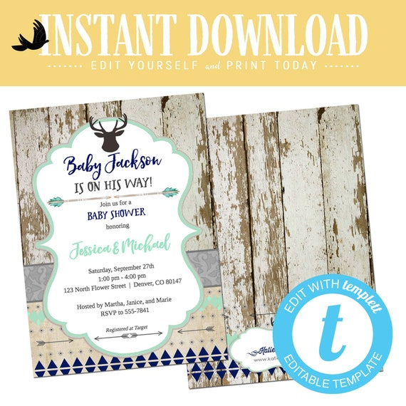 deer baby boy shower invitation woodland couple sprinkle sip see twins mint navy gray rustic tribal editable oh birthday | 1238b Katiedid