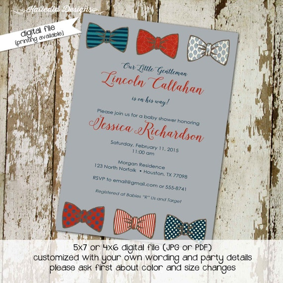 little man bow tie baby shower invitation boy gentleman first 1st birthday diaper wipes brunch couples coed retirement | 1203 Katiedid Cards