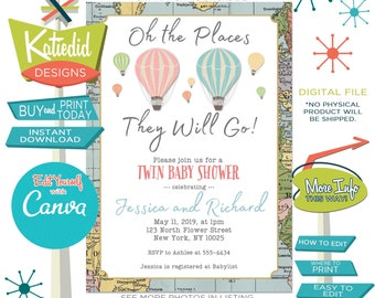 Adventure Awaits Hot Air Balloon Engagement Party Invitation, Twin Baby Shower or Edit for ANY Event    365 Katiedid Designs
