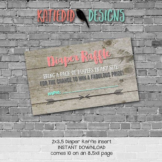 rustic baby girl shower invitation mint coral boho baby shower tribal arrow Diaper raffle ticket insert enclosure card 1417 katiedid designs