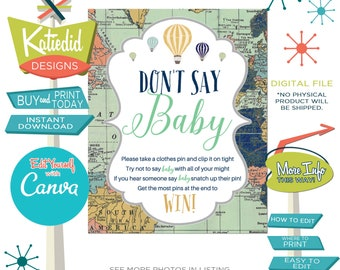 hot air balloon travel theme Adventure awaits baby shower game don't say baby sign world map navy mint gray gold party | 1466 Katiedid