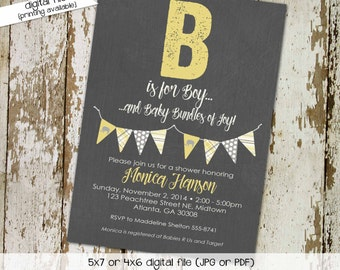 elephant baby shower invitation couples gender neutral reveal coed sprinkle sip see yellow gray bunting banner brunch   1256 Katiedid Design