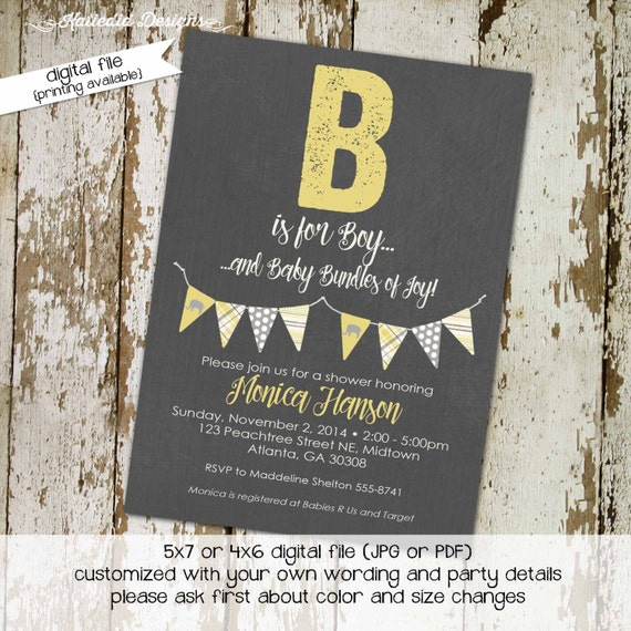 elephant baby shower invitation couples gender neutral reveal coed sprinkle sip see yellow gray bunting banner brunch | 1256 Katiedid Design