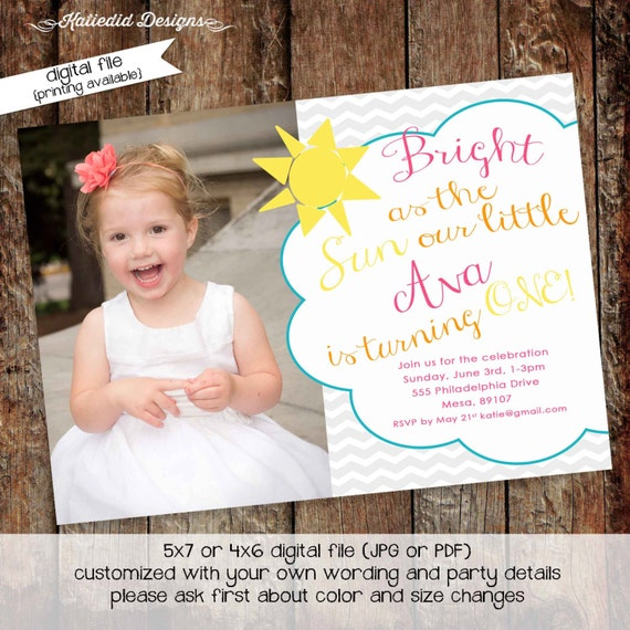 you are my sunshine birthday invitation brighter than the sun first communion baptism christening tea party girl picture gay | 248 Katiedid