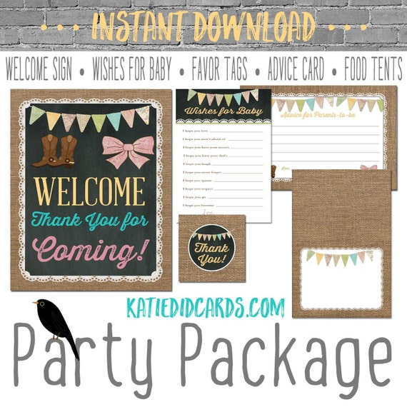 rustic chic burlap invitation little girl birthday invite boots bows gender reveal party game party package sign wishes 1410 katiedid design