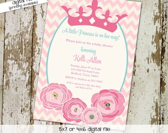 little princess once upon a time couples baby shower invitation floral girl crown tiara birthday sip see sleepover storybook | 1351 Katiedid