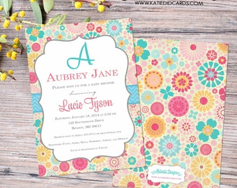 monogram baby shower invitation girl couples coed diaper wipes brunch floral 1st birthday sprinkle sip see bridal LGBT   1369 katiedid cards
