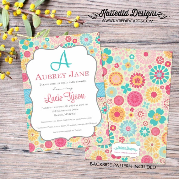monogram baby shower invitation girl couples coed diaper wipes brunch floral 1st birthday sprinkle sip see bridal LGBT | 1369 katiedid cards