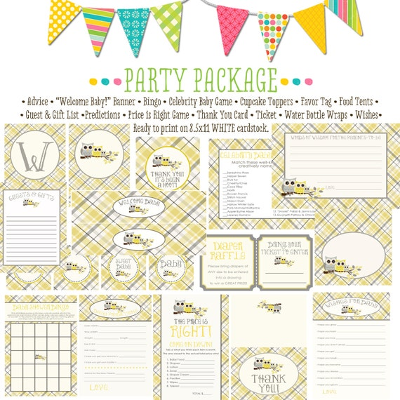 owl baby shower party package plaid chic invite surprise gender reveal bunting banner wishes for baby bingo cupcake 1446 katiedid designs