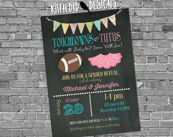 gender reveal invitation touchdowns tutus rustic couples diaper football bunting chalkboard neutral baby shower twins | 1431 katiedid design