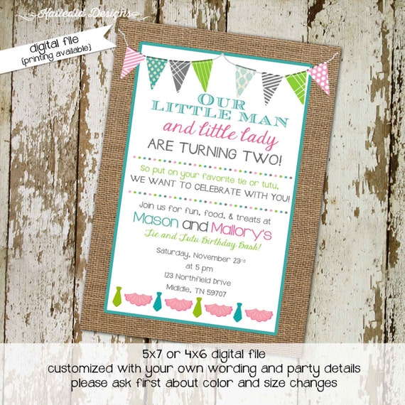 gender reveal invitation tutu or tie brother sister double birthday twins couples baby shower burlap sprinkle sip see | 280 Katiedid Designs