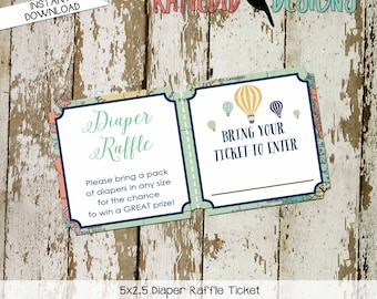 Diaper raffle ticket Adventure awaits Hot air balloon Travel Theme oh the places you'll go baby shower world map | 1466 Katiedid Designs