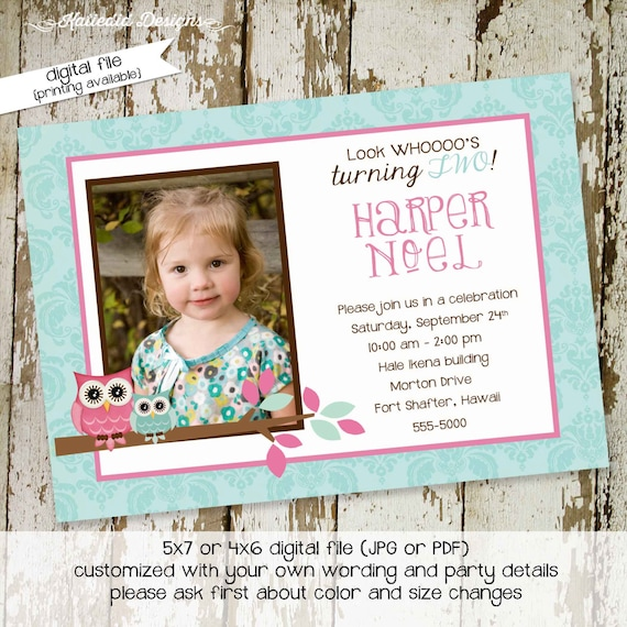 owl birthday invitation baby shower girl photo picture ultrasound pregnancy announcement pink aqua first twins | 274 Katiedid Designs