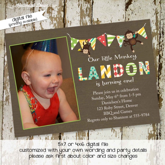 monkey birthday invitation twins baby shower ultrasound photo pregnancy announcement picture boy couples coed diaper wipes | 254b Katiedid