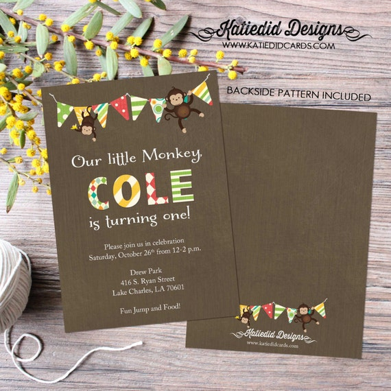 monkey gender reveal invitation twins baby shower couples neutral bunting banner coed sprinkle sip see birthday brunch | 254 katiedid design