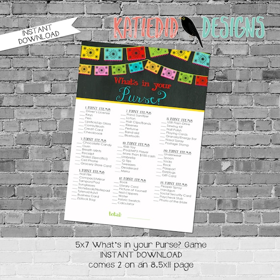 Couples shower party game What's in your purse fiesta papel picado chalkboard bridal coed wedding cinco de engagement party | 301 Katiedid